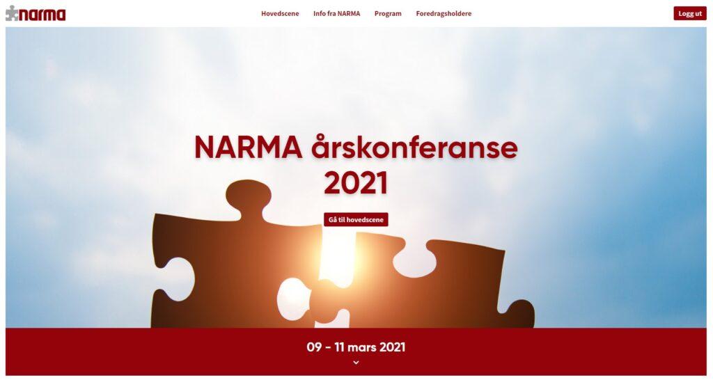 NARMA årskonferanse 2021 lobby øvre del konferanseplattform